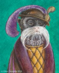 The Emperor's Haberdasher emperor tamarin monkey animal portrait art print