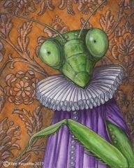 Lady Mantis praying mantis animal portrait art print