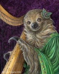 Madame Isolda harpist two toed sloth animal portrait art print