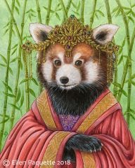 Princess GuanYi red panda endangered animal portrait art print