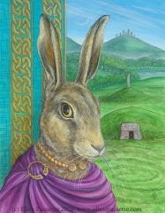 The Bard European hare animal portrait art print