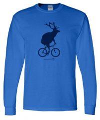 Adult Elk on a Bike Long Sleeve T-Shirt