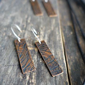 Modern Bark Texture Copper Earrings