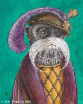 The Emperor's Haberdasher emperor tamarin monkey animal portrait art print