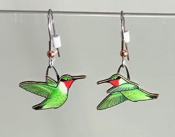 Ruby-throated Hummingbird Jabebo Earrings