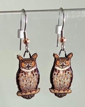 Great Horned Owl Jabebo Earrings