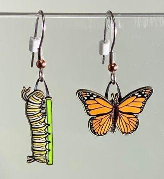 Monarch Butterfly and Caterpillar Jabebo Earrings
