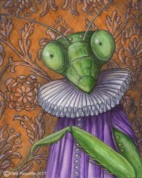 Lady Mantis praying mantis animal portrait art print