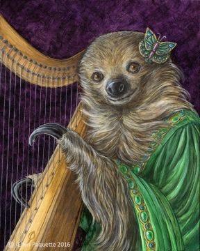 Madame Isolda harpist two toed sloth animal portrait art print