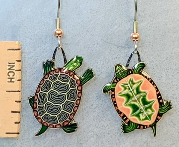 Painted Turtle Jabebo Earrings