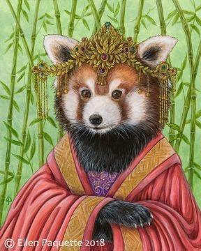 Princess GuanYi red panda endangered animal portrait art print