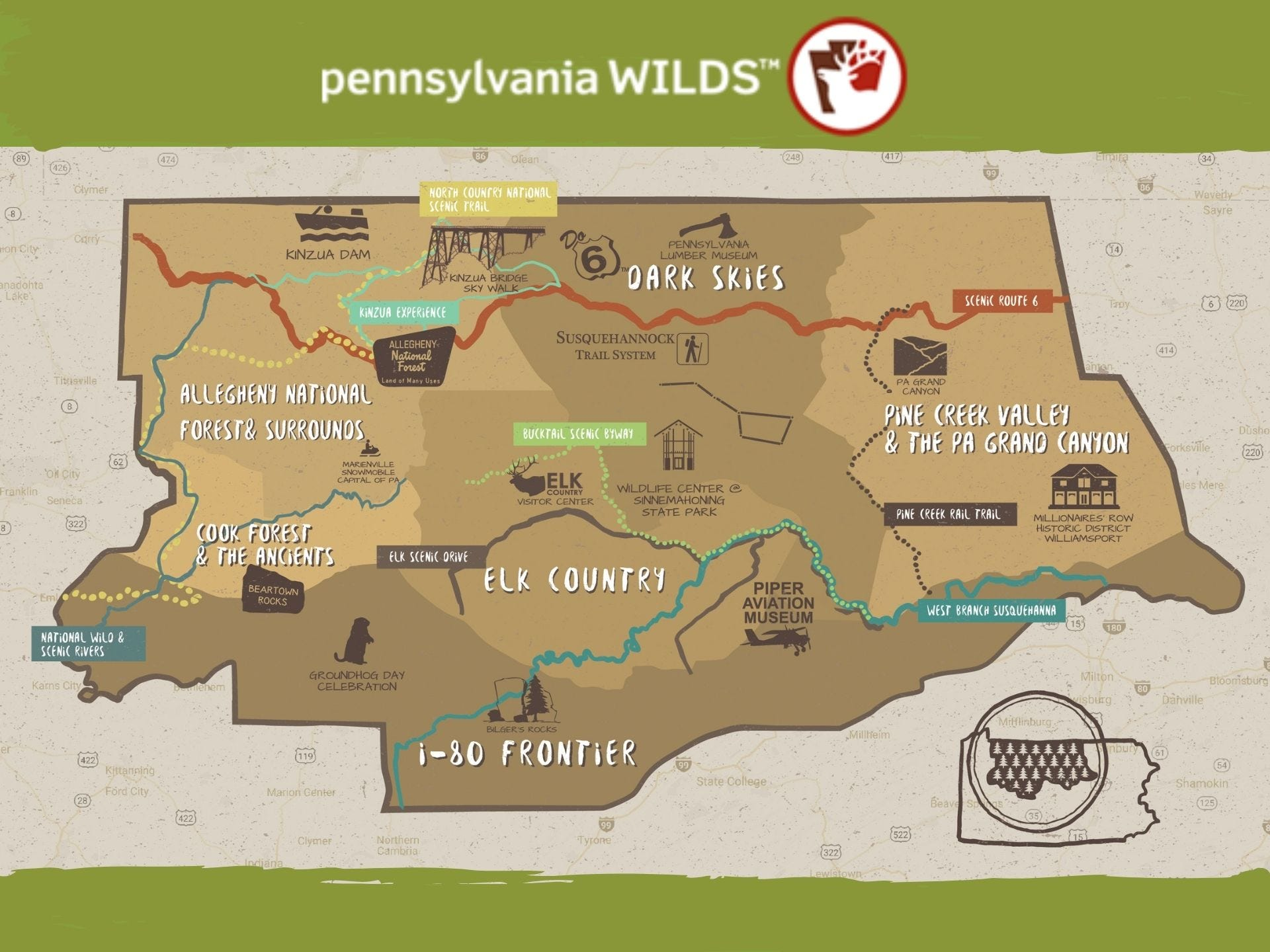 PA Wilds Landscapes Map