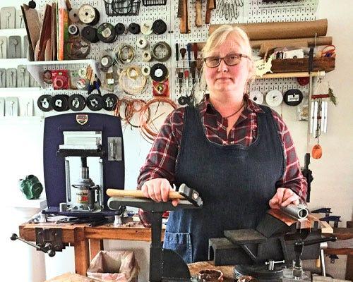 Stephanie Distler making jewelry