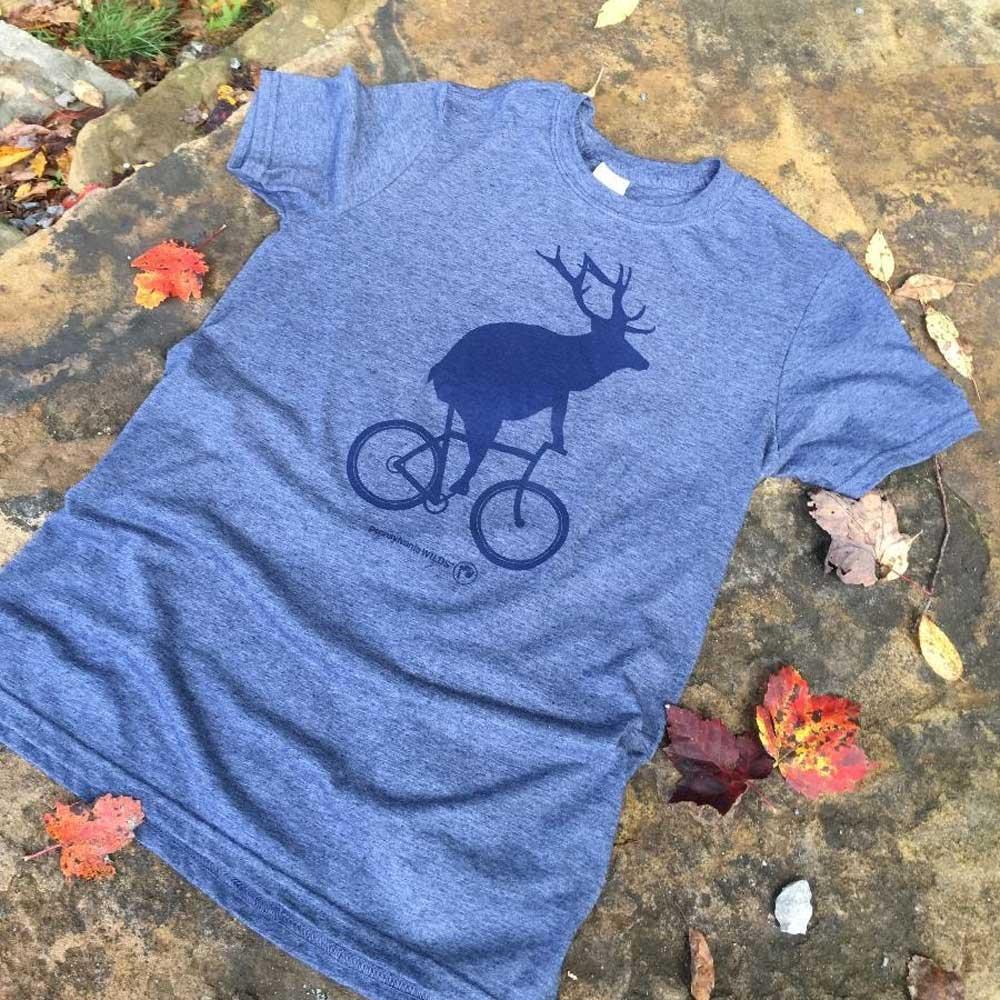 Adult Elk on a Bike T-Shirt